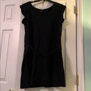 Knit casual black dress